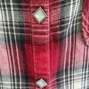 Harley-Davidson Tops - Harley Davidson red plaid western flannel shirt S